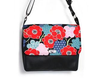 Vegan messenger bag, small crossbody bag, small vegan bag, black purse, cross body bag, everyday bag, ipad bag, red flower bag, Japanese bag