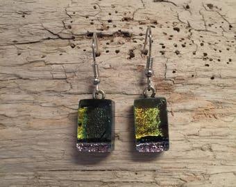 Jewelry,glass,Dichroic glass jewelry, fused glass earrings, handmade dichroic glass, dichroic glass earrings, Dichroic Glass Dangle earrings