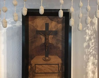 Beautiful Religious Crucifix Carved and Inlay Wood, Confirmation Gift