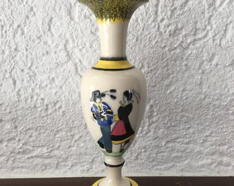 Sweet Vintage French Country HenRiot Yellow Black White Pink Quimper Romantic Pink Cottage Chic Vase
