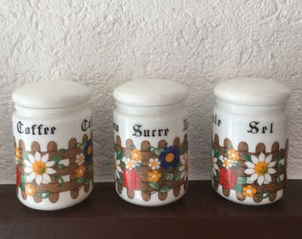 Vintage French Country Milk Glass Opaline Glass Canister Set