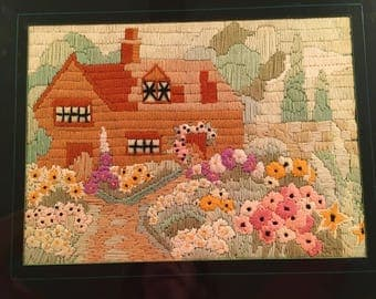 Crewel English Cottage Flower Garden 1929 Vintage Framed Embroidered Needlework