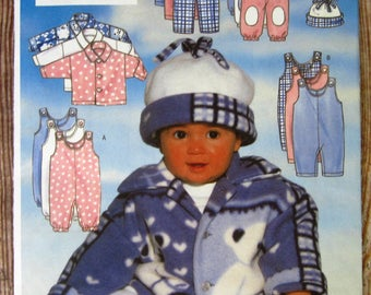Vintage 1990s Very Easy to Sew Infants Jacket, Jumpsuit, Pants and Hat Sizes NB S M Butterick Pattern 5092 UNCUT