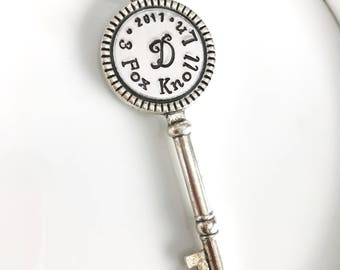 Personalized key: Christmas Ornament Key Skeleton Key silver round. New home.
