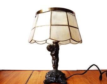 Vintage Meyda Tiffany Cherub Lamp/Mid Century Bronze Cupid Boudoir Lamp with Capiz Shell Shade/ Rare MOP Lamp Shade