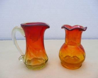 Two Pieces Miniature Amberina Glass, Small Amberina Pitcher and Small Amberina Vase