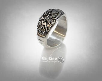 Green Man Greenman Small Signet Ring Solid Sterling Silver 925 By EZI Zino