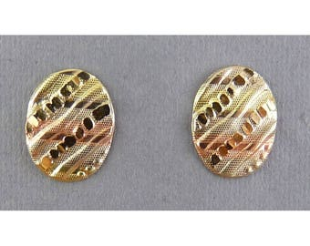 14K Tricolor Gold Oval Earrings with Diagonal Ribs, Pierced