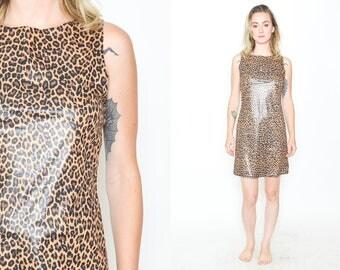 LEOPARD WETLOOK Leopard Print Mini Dress. Round Neck A Line Dress. Brown/ Black Leopard Print. Shiny Fabric. Vintage 90's Grunge Mod Sze/S