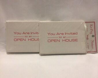 Vintage Set Of 2 Open House Invitations by Ke-Peg Notes