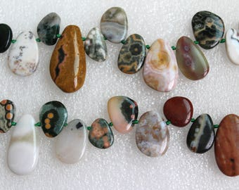 Polished Ocean Jasper Flat Drop Beads Side to Side Top Drilled Various Sizes