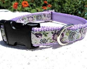 "Small Girl Dog Collar 3/4"" width Lavender Floral Quick Release buckle adjustable - no martingale, limited ribbon"