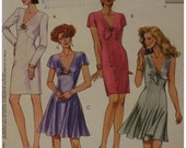 Sexy Fitted Dress Pattern, Straight/Flared Skirt, V-neck, Fitted Bodice, Empire Waist, Tie, Sleeveless, McCalls No.5866 UNCUT Size 8 10 12