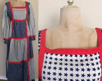 """1970's Stars & Stripes Maxi Dress Red White and Blue American Flag Dress Size Large XL 32"""" Waist by Maeberry Vintage"""