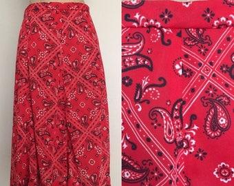 30% OFF 1970's Red Handkercheif Print Skirt Sz Smal Medium by Maeberry Vintage