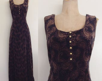 "1970's Black & Brown Paisley Print Velvet Maxi Dress Size Small 26"" Waist by Maeberry Vintage"