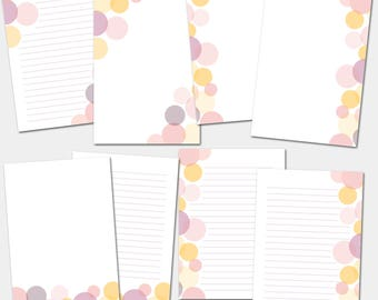 A5 Printable Planner Inserts, Planner Pages, Pink Circles, Instant Download
