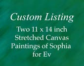 Two Custom Dog Portrait Painting of Sophia for Ev. Each painting measures 11 x 14 inches - horizontal and is on stretched canvas.