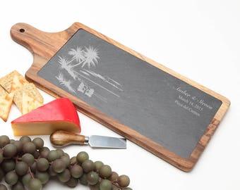 Wood Cheese Board, Personalized Slate Board, Acacia Slate Cheese Board, Slate serving board, Personalized Beach Wedding, Housewarming D33