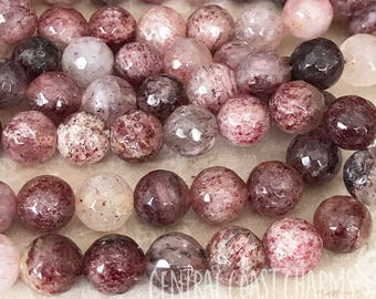Strawberry Quartz Round Faceted Beads - 8mm 9mm Pink Red Semi Precious Gemstone  - Bohemian Glam Mala Healing Chakra - Central Coast Charms