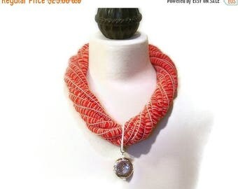 CIJ SALE Nautical Statement Necklace, Fiber, Red, White, Mother of Pearl Rectangular Ring, Round Silver Pendant