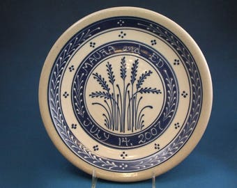 Personalized Blue Wheat on White Slip - Stoneware Wedding Plate