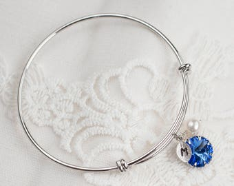 Custom Birthstone Bangle For Mom - Mother's Gift - Initial Bracelet - Custom Bracelet - Family Bracelet - Bridesmaids Gift