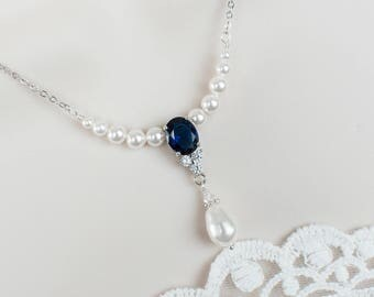 Bridal Necklace, Blue Sapphire and Pearls Necklace,Bridal Pearl/Sapphire CZ Necklace, Something Blue Necklace,Wedding Jewelry,Bridal Jewelry