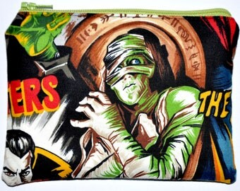 The Mummy The Wolf Man Hollywood Monsters Halloween Zipper Pouch Coin Purse Change Purse Wallet Gift Idea