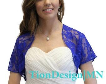 7 Days Sale Bridal lace jacket, Royal Blue  bridal Lace Bolero, wedding shrug With Short Sleeve 720ROS-RoBLUE