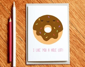 Donut Card, Funny Valentines Day Card, Funny Birthday Card, Funny Love Card, Xmas Card, Funny Christmas Card, Funny Food Gift, Food Pun Card