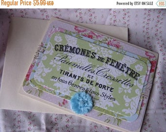 Antique French Label Inspired Card Floral Blank Greeting Gift Giving All Occasion Green