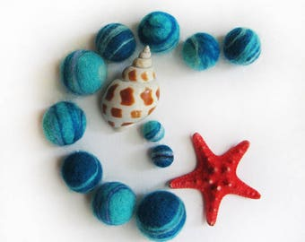 "Beads ""Marine blue pebble"""