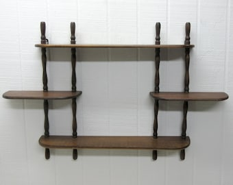 Vintage Wooden Wall Hanging Curio Display Shelf 3 Tier