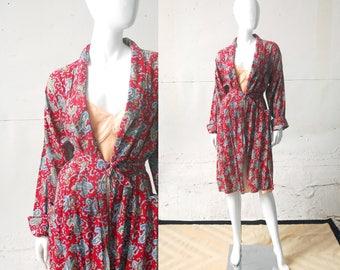 1950s Paisley Robe / Unisex Robe / 50s 60s