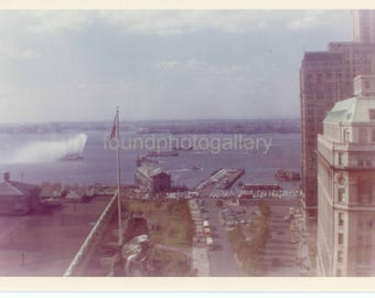 Vintage Photo, View of Lower Manhattan With Fireboat, 1963, Snapshot, Color Photo, Old Photo, Travel Photo, Landscape