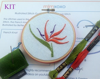 Embroidery KIT by mlmxoxo.  modern hand embroidery kit. bird of paradise. embroidery pattern. tropical flower. botanical. DIY needlework kit