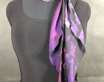 Purple/Berry/Black 8 x 72 Silk Georgette Bias Cut Shibori Scarf