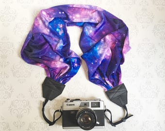 Scarf Camera Strap, Premium Fabric, DSLR Camera Strap, Extra Long, Nikon, Canon, DSLR Photography, Wedding Photographer Gift - Galaxy Knit