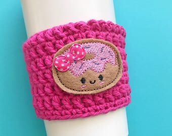 Donut coffee cozy / mug sleeve / coffee mug cover / crochet coffee sleeve