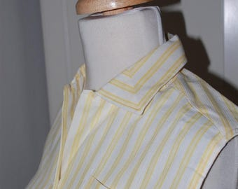 ON SALE 50s Yellow Striped Blouse, Deadstock, Cotton, Sleeveless, New Old Stock, Lady Sutton, Size Medium