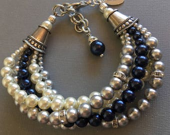 Navy Blue Bracelet multi strand Night Blue Light Grey and Ivory Swarovski Pearls mother of the bride wedding formal bridal jewelry