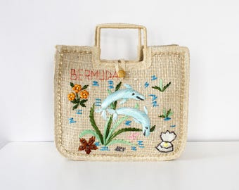 Vintage Straw Bag • Novelty Bag • Dolphin Purse • 80s Purse • Bermuda Handbags • Straw Tote Bag • 80s Bag • Raffia Bag • Beach Bag  | B928