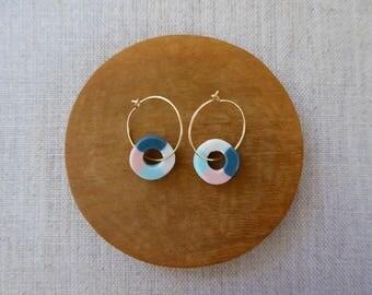 Colour Tube Round Disc Hoop Earrings