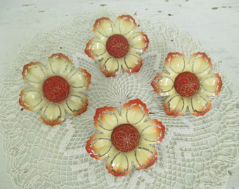 Vintage Metal Curtain Flower Pins - Tie Back Pins - Orange, Pale Yellow, Gold - Studio Decor - Assemblage, Mixed Media Art - Four in Lot