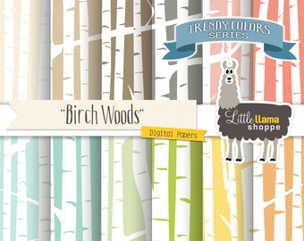 Birch Forest Digital Paper, Birch Woods Digital Backgrounds, White Birch Trees Scrapbook Paper, Forest Pattern, Commercial Use