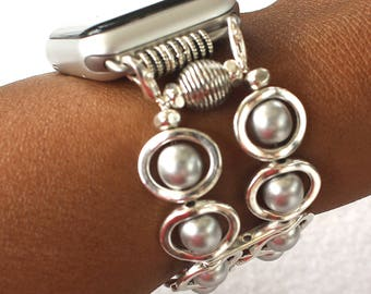 Apple Watch Band, Watch Band for Apple Watch, Silver Ovals and Silver Glass Beads Band for Apple Watch