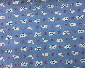 Cute Farm Animal Print Cotton Fabric 2 Yards X0900 Quilting, Crafts