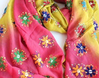 Indian hand embroidered shawl with mirror sequines. Phulkari scarf