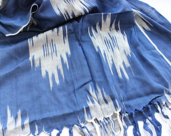 Uzbek handwoven blue cotton Ikat scarf